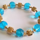 Aqua Blue Bracelet, Faceted Glass Beaded Jewelry, Yellow Gold Statement Bracelet