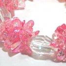 Pink Glass Bead and Faceted Crystal Jewelry, Bright Pink Glass Chip Beads