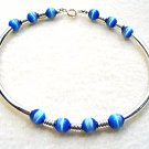 Blue and Silver Bracelet, Mystical Blue Beaded Jewelry, Silver Tubes Bracelet