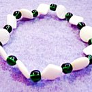 Green Bracelet, Emerald Green Glass Bead Jewelry, White Shell Bracelet No Metals