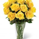 One dozen FRESH CUT YELLOW ROSES delivered anywhere in Sac. Metro for $35 : Includes a vase