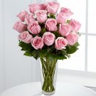 One dozen FRESH CUT MED-PINK ROSES delivered anywhere in Sacramento Metro for $35 : Includes a vase