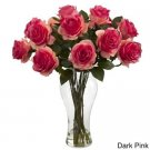 One dozen FRESH CUT DARK-PINK ROSES delivered anywhere in Sacramento Metro for $35 : Includes a vase