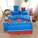 #20 4PCS Superman Justice League TWIN Size Bedding Set Duvet Cover Flat Sheet
