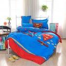 #22 4PCS Superman Justice League QUEEN Size Bedding Set Duvet Cover Flat Sheet