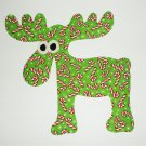 Iron On Applique Christmas Green Cane Cane Moose Holiday Patch