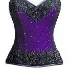 Purple Satin Black Handmade Sequins Gothic Burlesque Bustier Waist Training Overbust Corset Costume