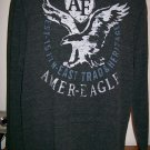 Mens Large Dark Gray American Eagle Sweater Waffle Shirt Long Sleeves