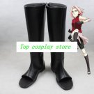 Naruto Sakura Haruno black pu leather ver Cosplay Boots shoes shoe boot  #NC795