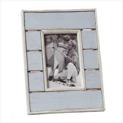 Distress Blue White Photo Frame