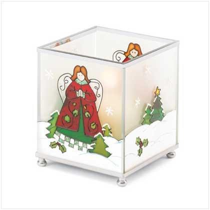 Square Christmas Angel Candleholder