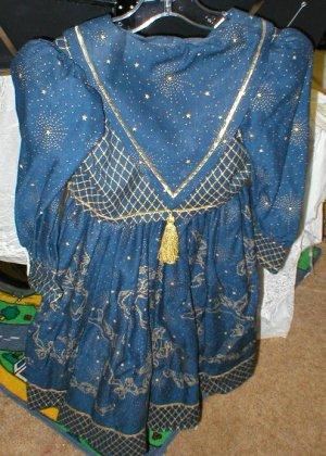 Daisy Kingdom - Blue & Gold Holiday Dress