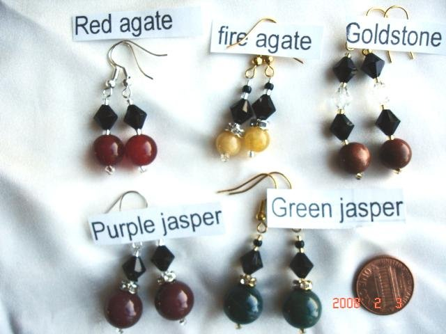 Earrings with genuine semi-precious stone