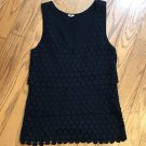 J. Crew Women Sz Small Black Sleevless Geometric Pattern Multi Layered Tank Top