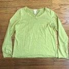 J. Jill Womens Petites MP Light Green Scoop Neck Ribbon Long Sleeve Cotton Top