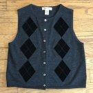 Eddie Bauer Women Small Merino Wool Gray Black Sleeveless Vest Button Down Top