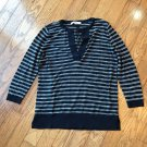 Ann Taylor LOFT Navy Blue and White 3/4 Sleeve Y-Neck Long Sleeve Drawstring Top