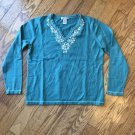 Orvis Womens Medium 100% Cotton Teal Long Sleeve Embroidered Y-Neck Line Top