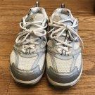 Skechers Shape Ups Womens US 7.5 Leather Silver White Gray Walking Shoes Sneaker