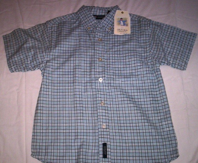 Boy's Button Front Shirt (Blue checkered) by Faded Glory
