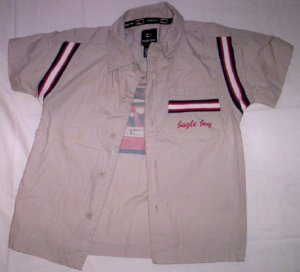 Boy's Button Front Shirt, Khaki by Bugle Boy