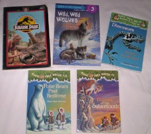 Books - Set of 5, Wolves, Dinosaurs, Bears, Tigers