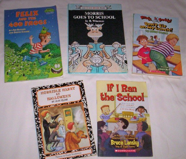 Books - Set of 5, Kids, frogs & school adventures