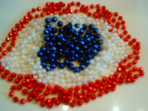 Red White and Blue Beaded Greeting Card