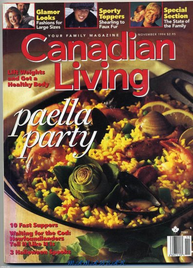 Canadian Living Back Issue November 1994 Paella Party