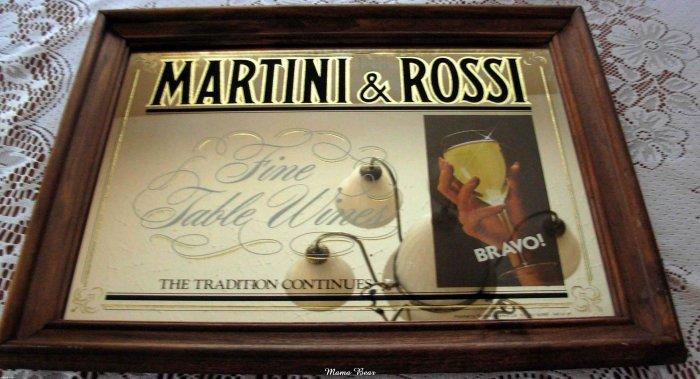 Vintage Martini & Rossi Fine Table Wines Bar Mirror
