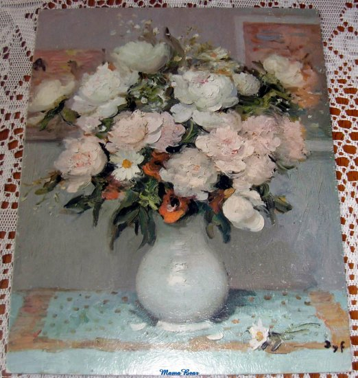 Lithograph Print Still Life  Peonies & Roses by DYF