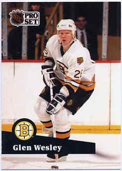 1991/92 NHL  Pro Set Hockey Card Glen Wesley #1 N?Mint