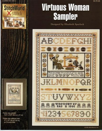 StitchWorld X-Stitch Virtuous Woman Sampler Cross Stitch Pattern Leaflet New