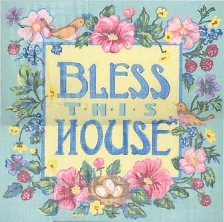 Bless This House Cross Stitch Color Printed Canvas  New in Package