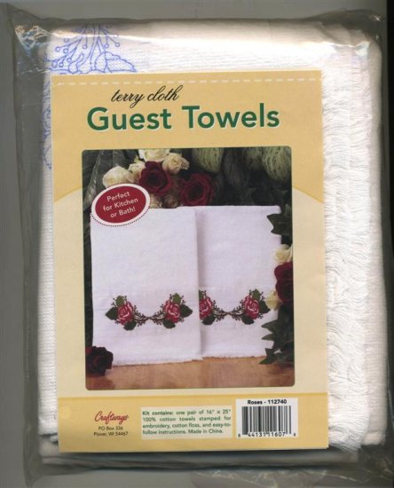 Craftways Terry Towel Guest Towels  Roses Embroidery New