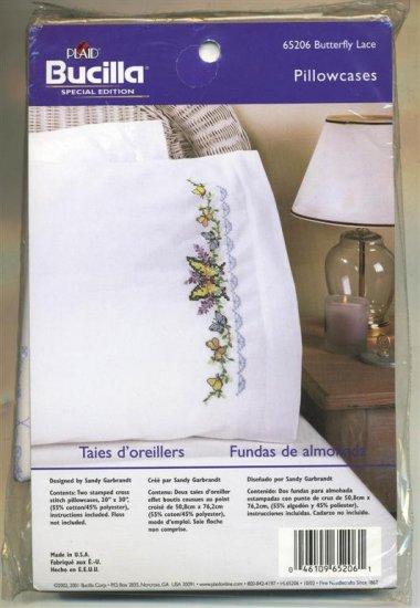 Bucilla Cross Stitch Kit  Butterfly Lace Pillowcases New