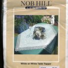 NOBHILL Linens White on White With Lace Table Topper Embroidery Kit