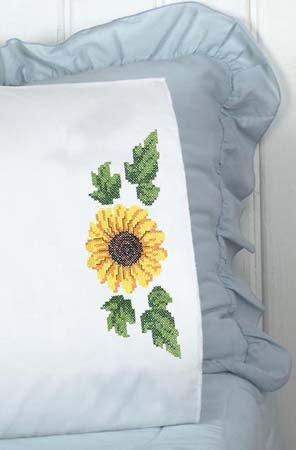 Sunflowers Queen Pillowcases Cross Stitch