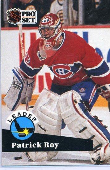 Patrick Roy Leader 91/92 Pro Set #599 NHL Hockey Card