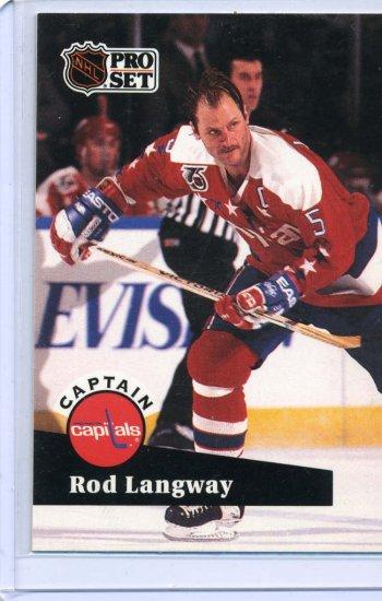 Rod Langway 91/92 Pro Set #587 NHL Hockey Card Near Mint/Mint Condition