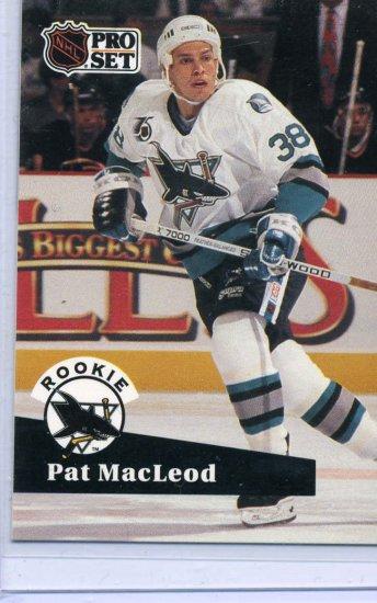 Rookie Pat MacLoed 1991/92 Pro Set #559 NHL Hockey Card Near Mint/Mint