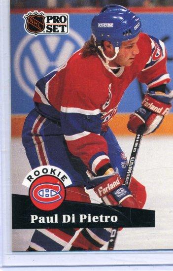 Rookie Paul Di Pierto 1991/92 Pro Set #546 NHL Hockey Card Near Mint Condition