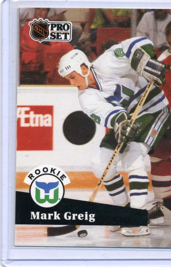 Rookie Mark Greig 1991/92 Pro Set #537 NHL Hockey Card Near Mint Condition