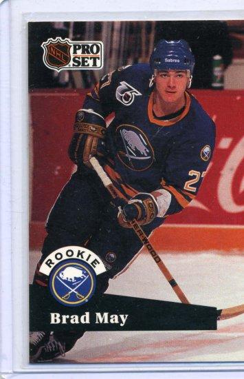Rookie Brad May 1991/92 Pro Set #523 NHL Hockey Card Near Mint Condition