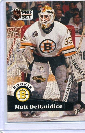 Rookie Matt DelGuidice 1991/92 Pro Set #521 NHL Hockey Card Near Mint Condition