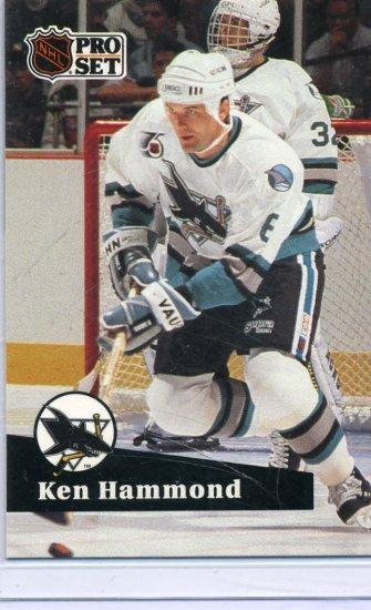 Rookie Ken Hammond 1991/92 Pro Set #484 Hockey Card Near Mint Condition