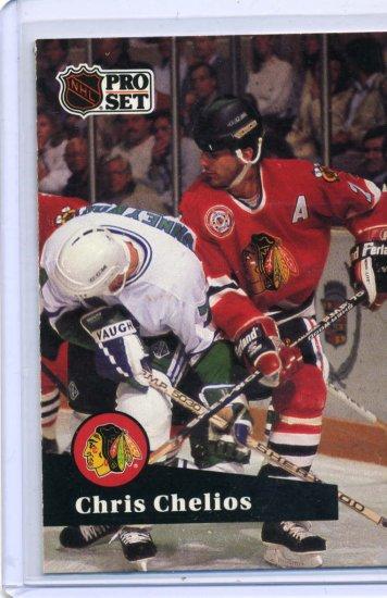 Chris Chelios 1991/92 Pro Set #48 NHL Hockey Card Near Mint Condition