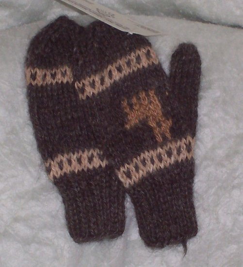 100% Alpaca hand-knitted gloves for kids