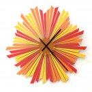 The Setting Sun XL - large sized stylish orange wooden wall clock, a piece of wall art