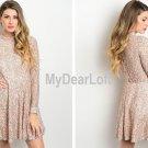 Women Dress Peach Pink & Black Floral Lace Details - Standout Dress Made USA NEW